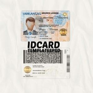 Arkansas drivers license templates psd