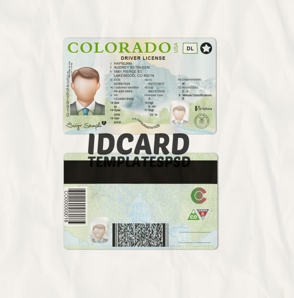 Colorado drivers license templates psd