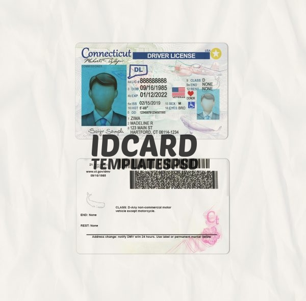 Connecticut drivers license templates psd