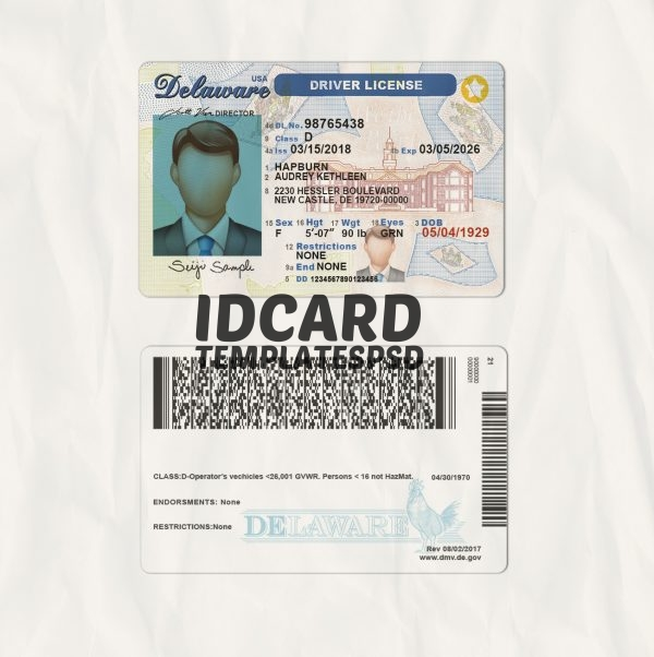 Delaware drivers license templates psd
