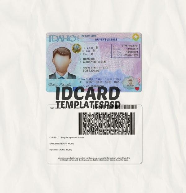 Idaho drivers license templates psd