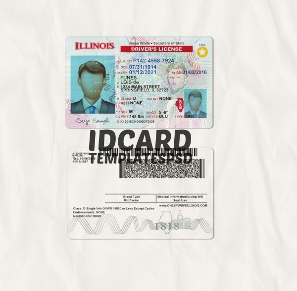 Illinois drivers license templates psd