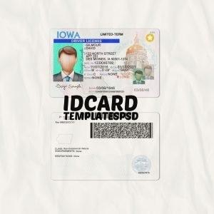 Iowa drivers license templates psd