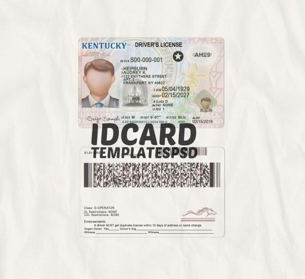 Kentucky drivers license templates psd