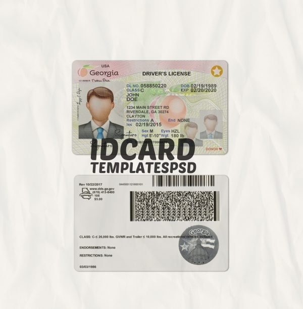 Georgia drivers license templates psd