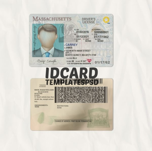 Massachusetts drivers license psd
