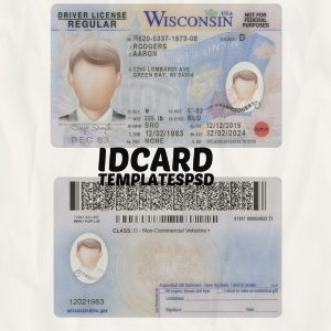 Wisconsin Drivers License Templates psd